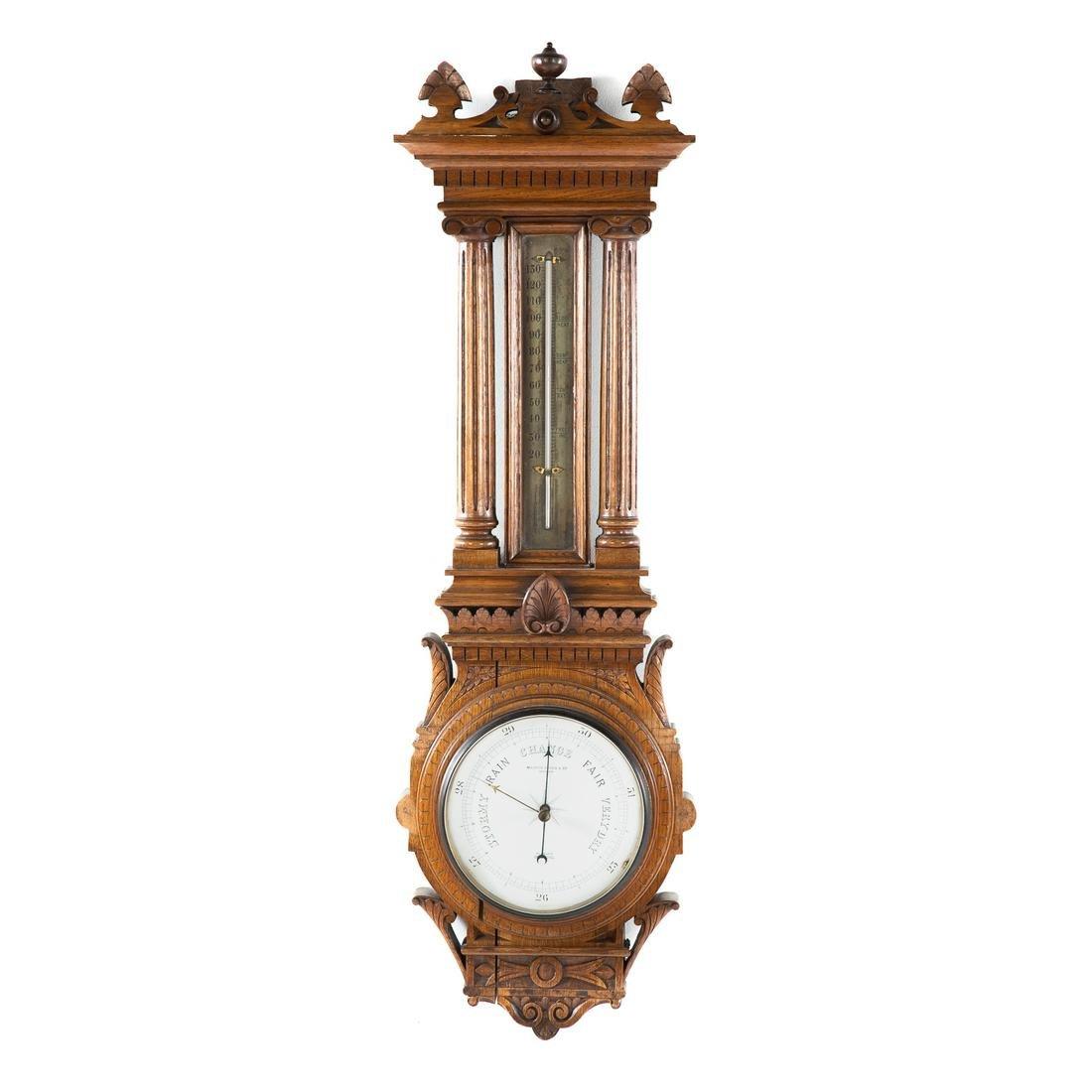 Victorian Carved Walnut Barometer