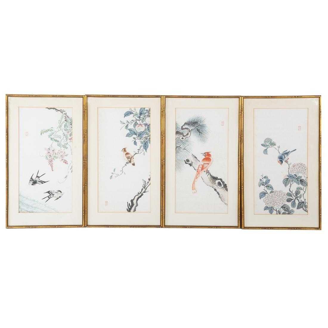 Set Four Chinese Gouaches Of Birds