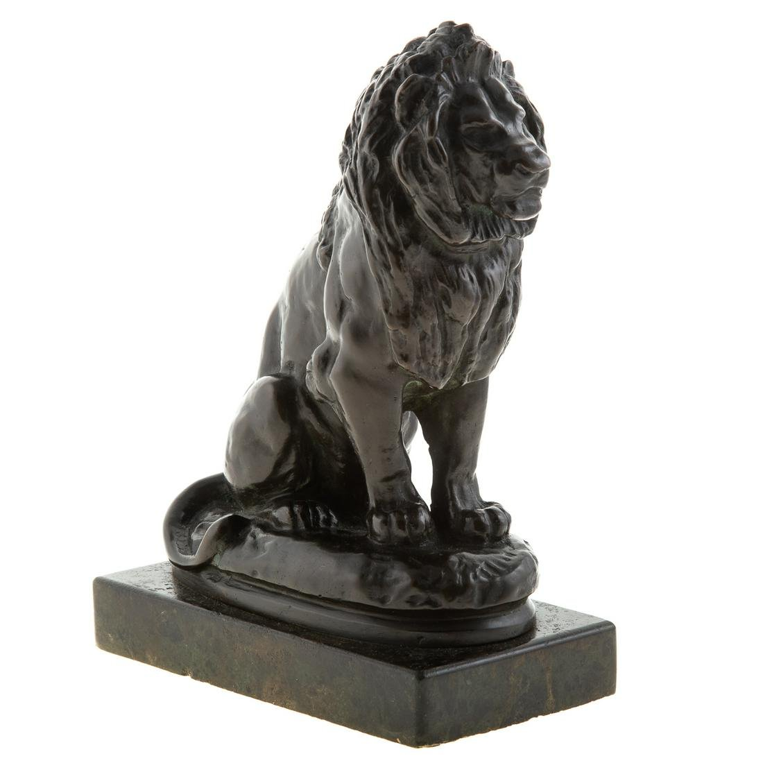 After Antoine Louis Barye, Seated Lion Bronze