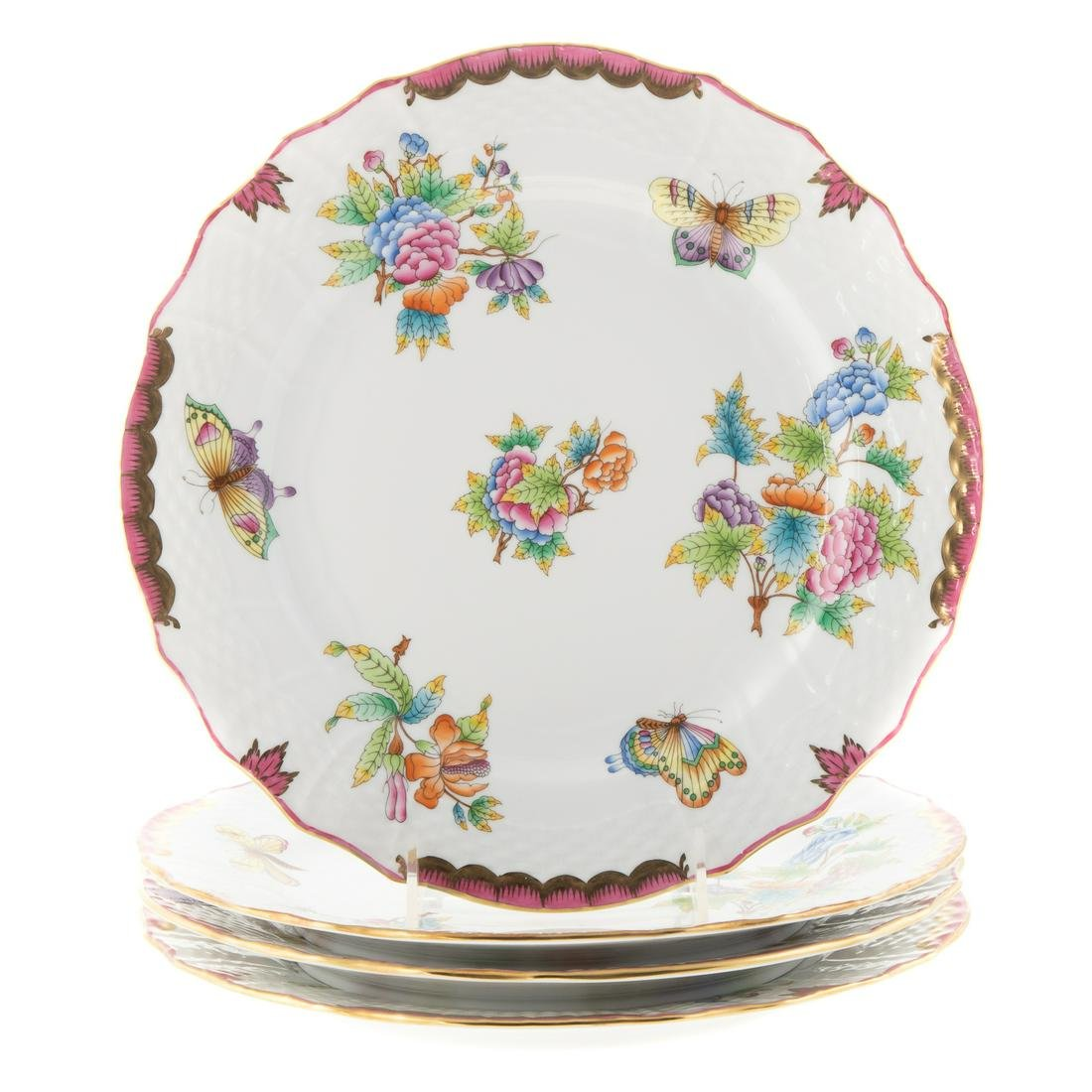 Four Herend Queen Victoria Dinner Plates