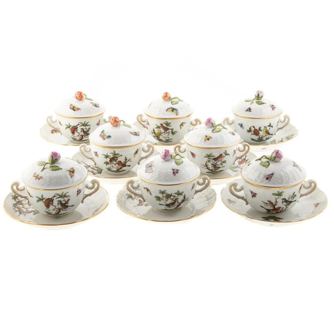 Eight Herend Rothschild Bird Bouillon Cups