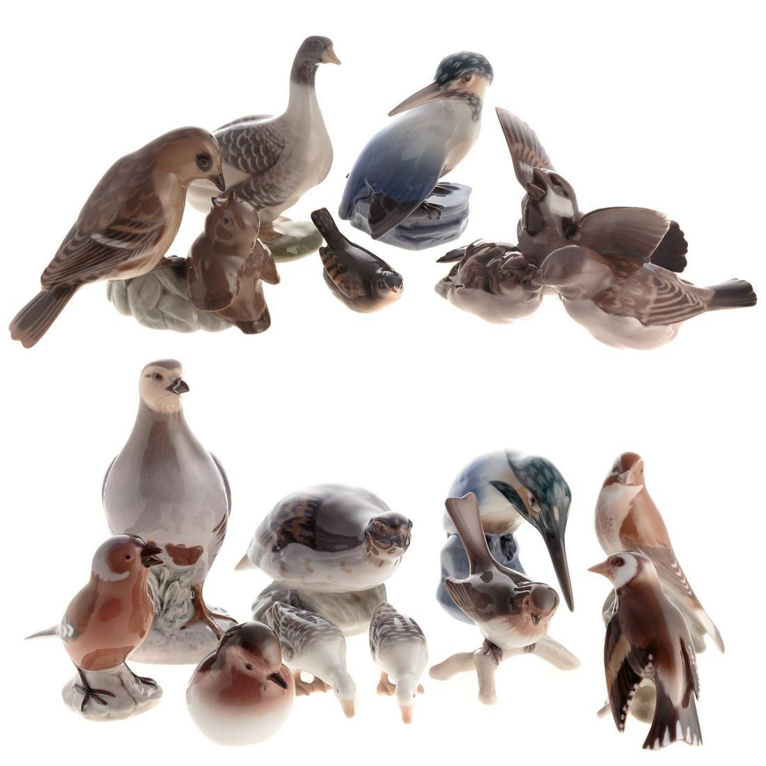 15 Assorted Bing & Grondahl Porcelain Birds