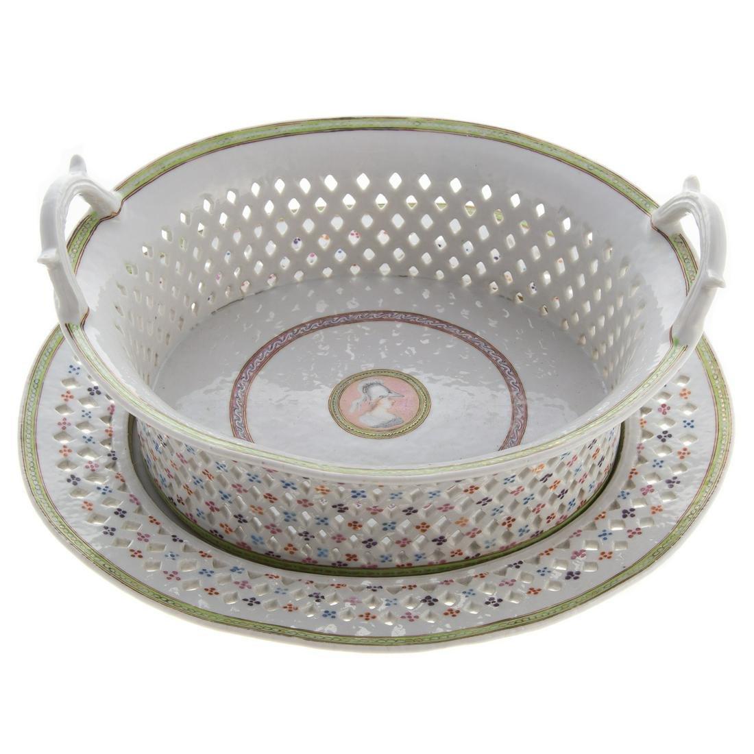 Chinese Export Porcelain Armorial Chestnut Basket