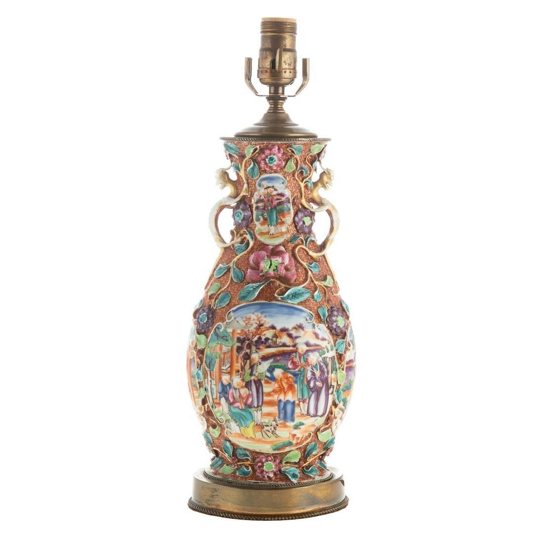 Chinese Export Mandarin Palette Vase Lamp