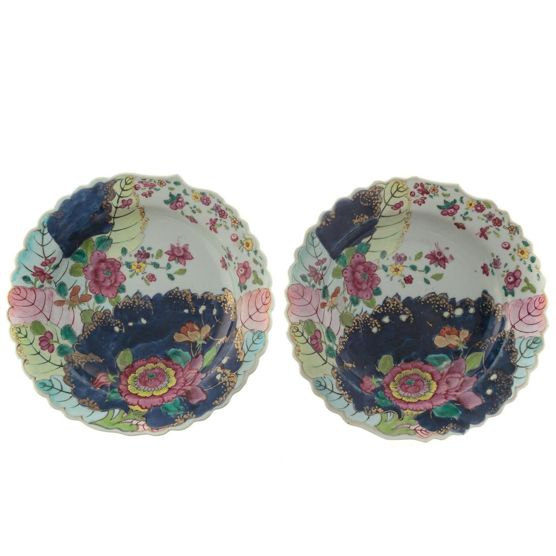 Pair Chinese Export Tobacco Leaf Soup Plates