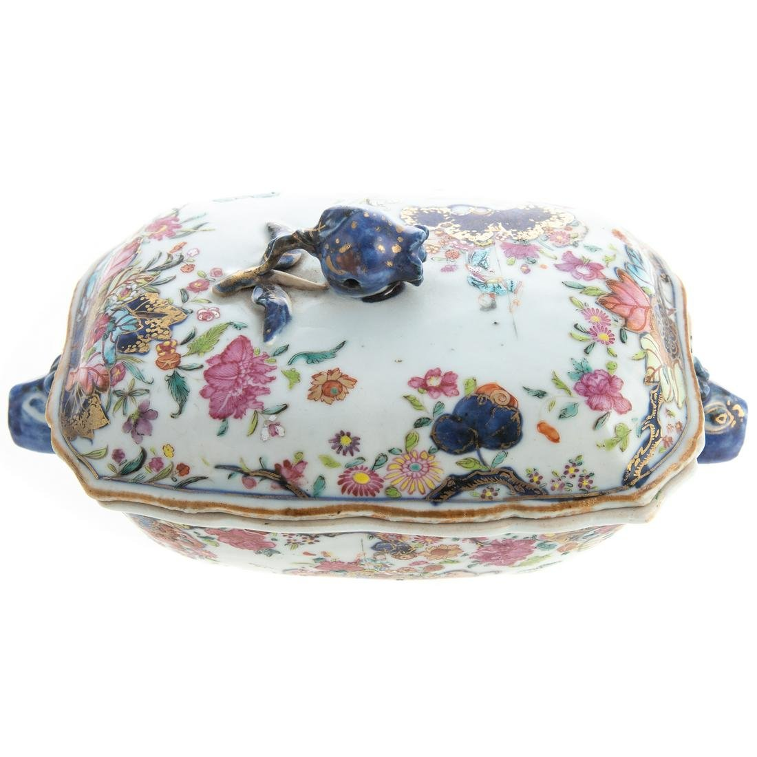 Chinese Export Tobacco Leaf Sauce Tureen