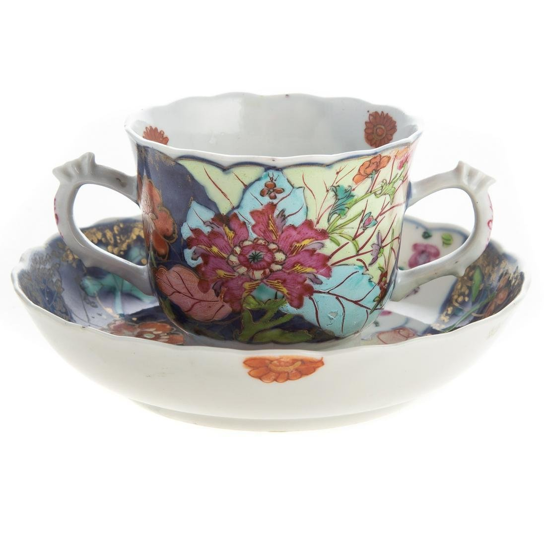Chinese Export Double Handled Cup & Saucer