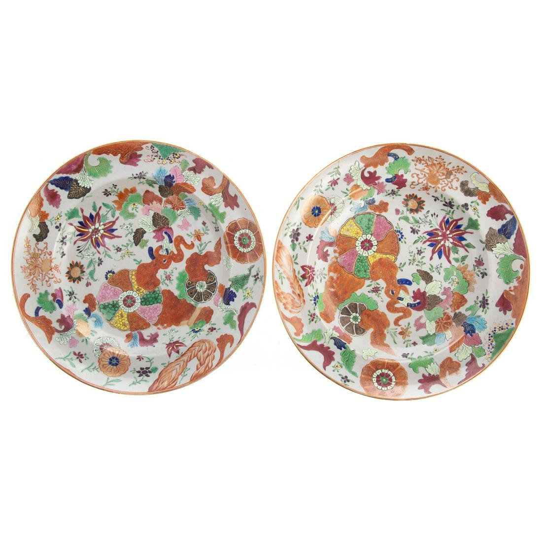 Pair Chinese Export Pseudo Tobacco Leaf Plates