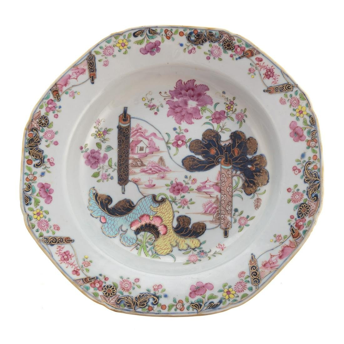 Chinese Export Tobacco Leaf Soup Plate