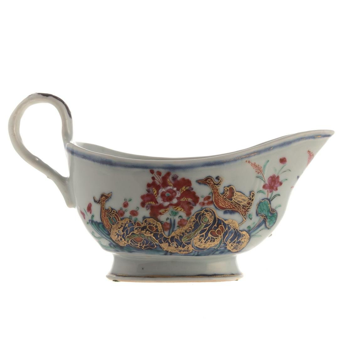 Chinese Export Tobacco Leaf Sauce Boat