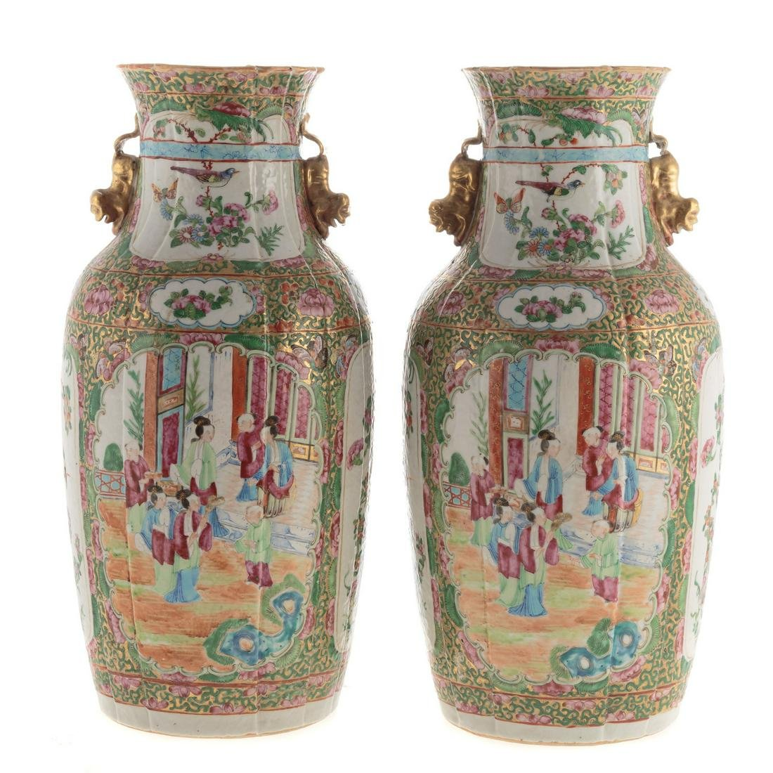 Pair Chinese Export Rose Medallion Ribbed Vases