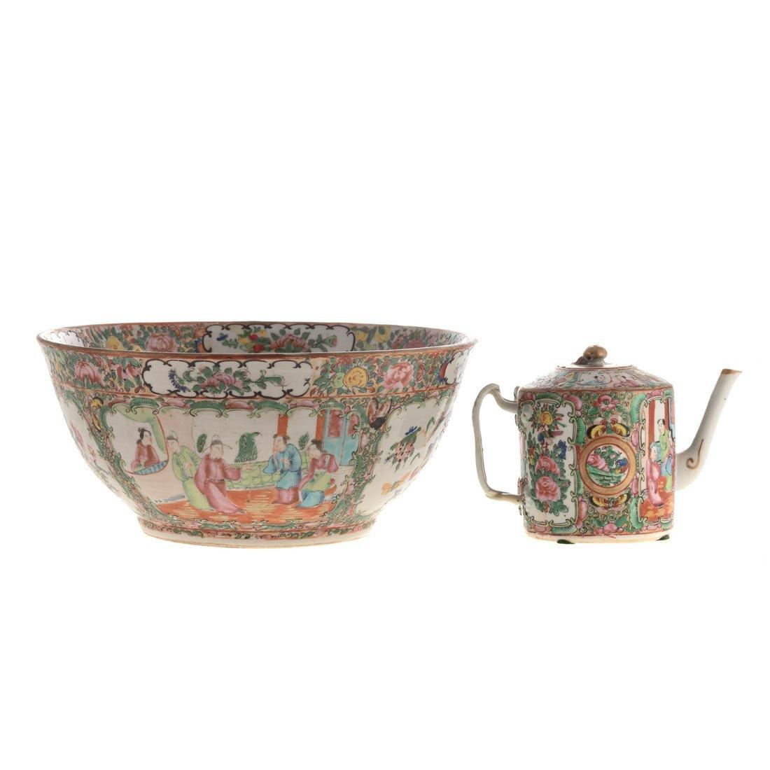 Chinese Export Rose Medallion Bowl & Teapot