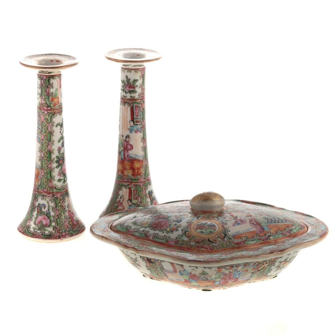 Three Chinese Export Rose Medallion Table Articles