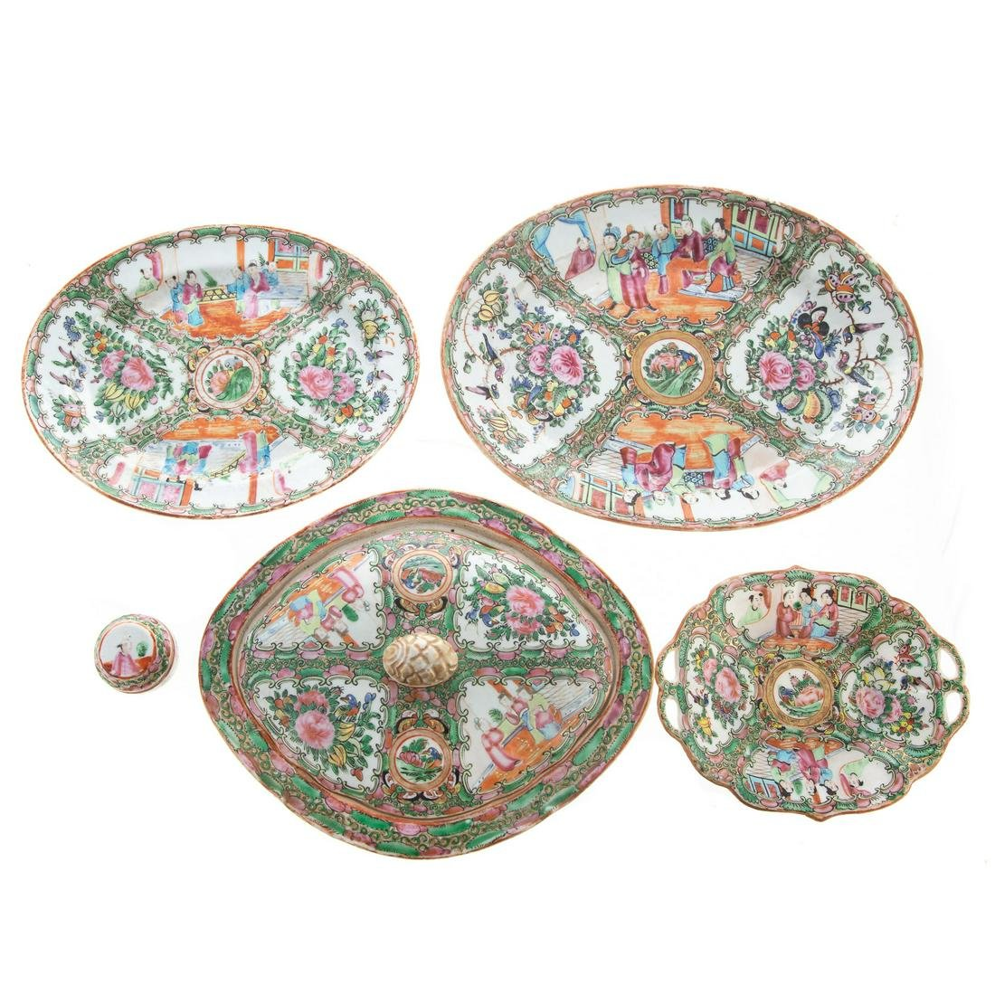 Five Chinese Export Rose Medallion Articles