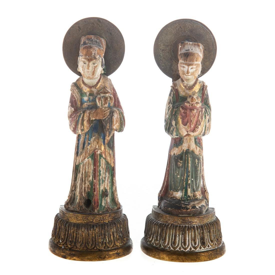 Pair Of Chinese Carved & Polychrome Wood Figures