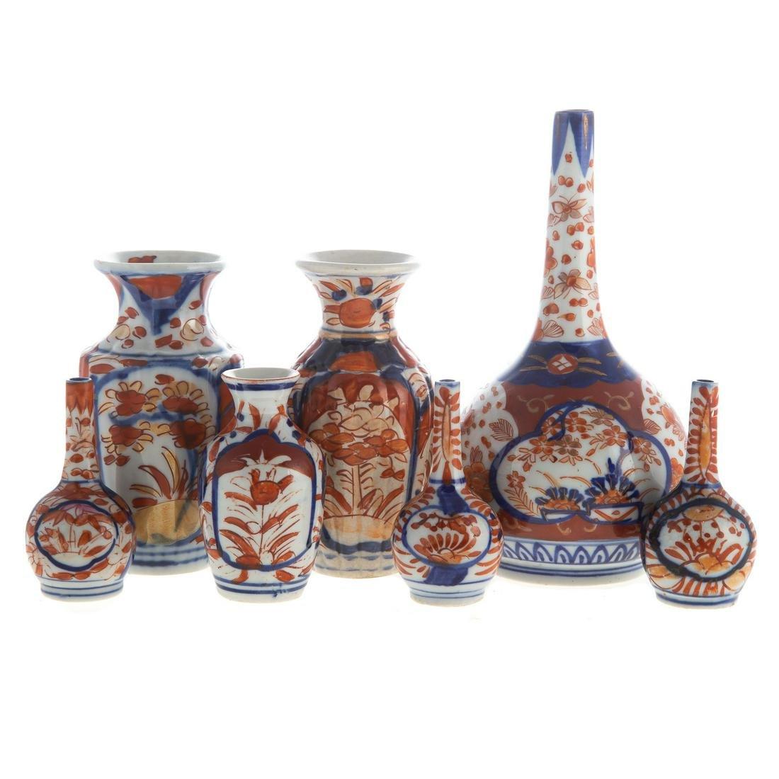 Seven Japanese Imari Miniature Vases