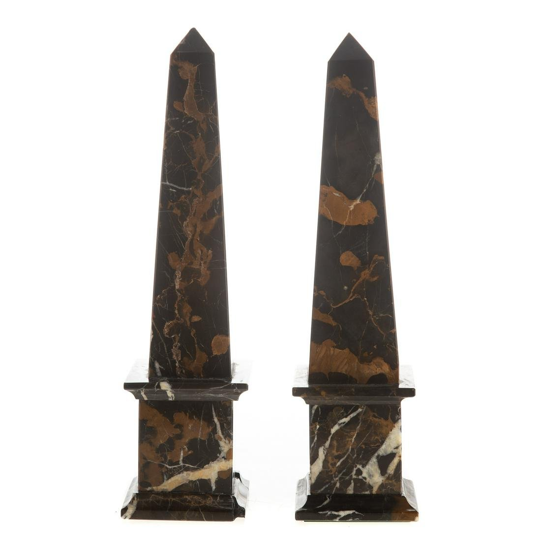 Pair Classical Style Onyx Obelisks