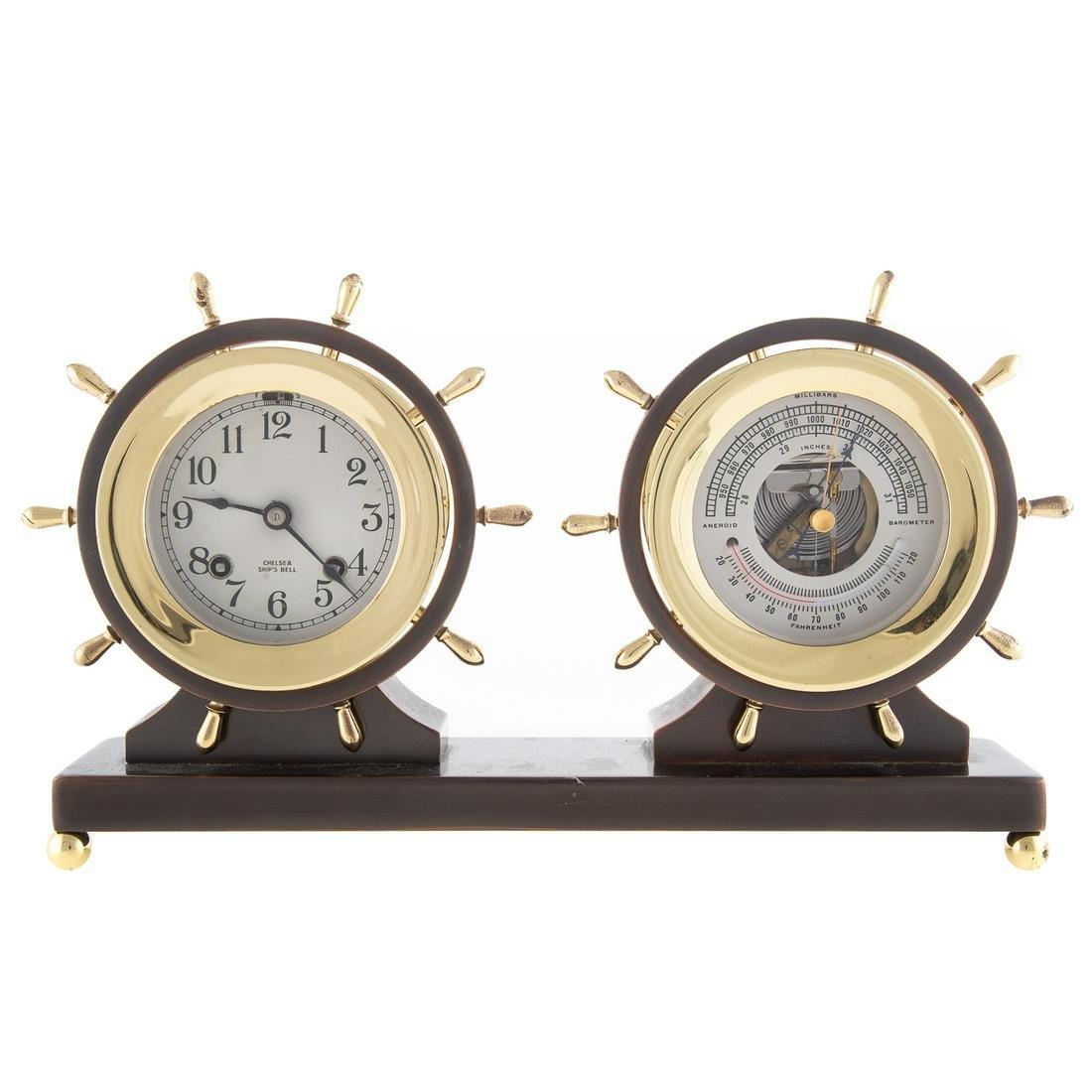 Chelsea Brass/ Patinated Metal Clock & Barometer
