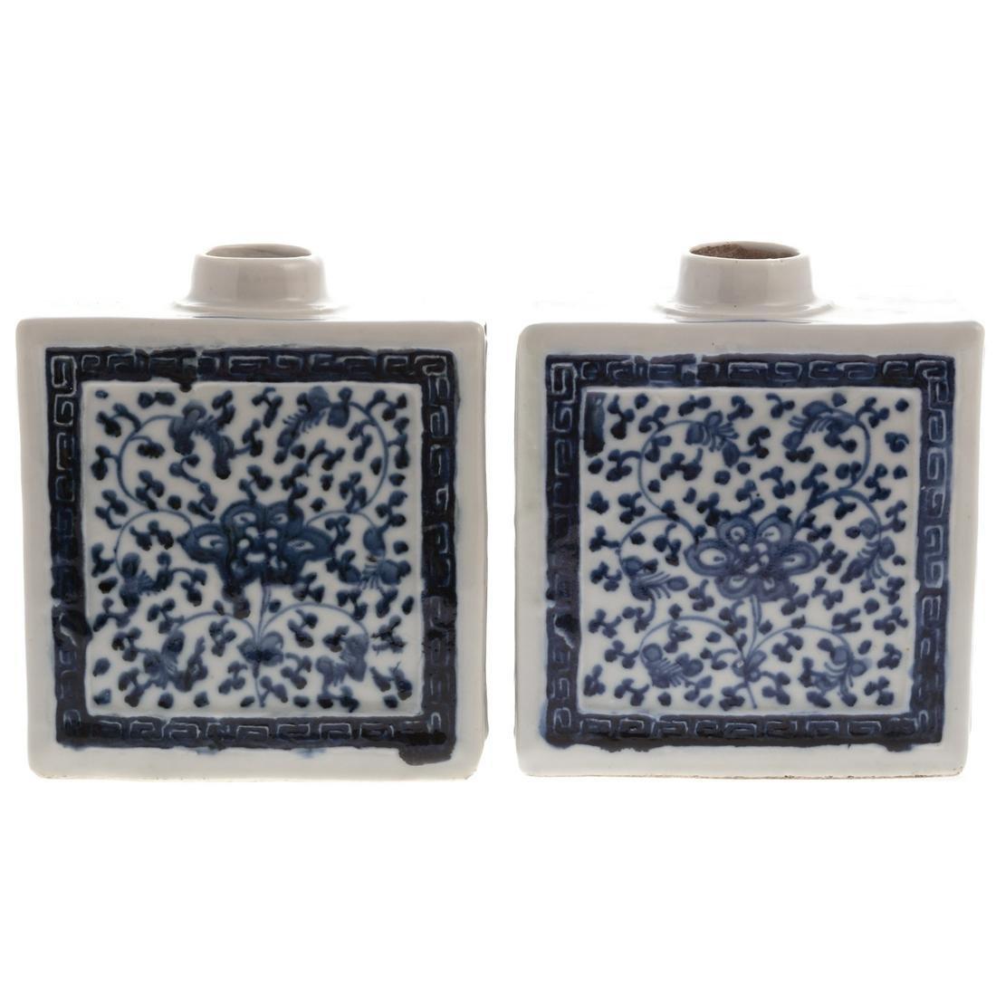 Pr. Chinese Export Blue & White Paneled Tea Caddies