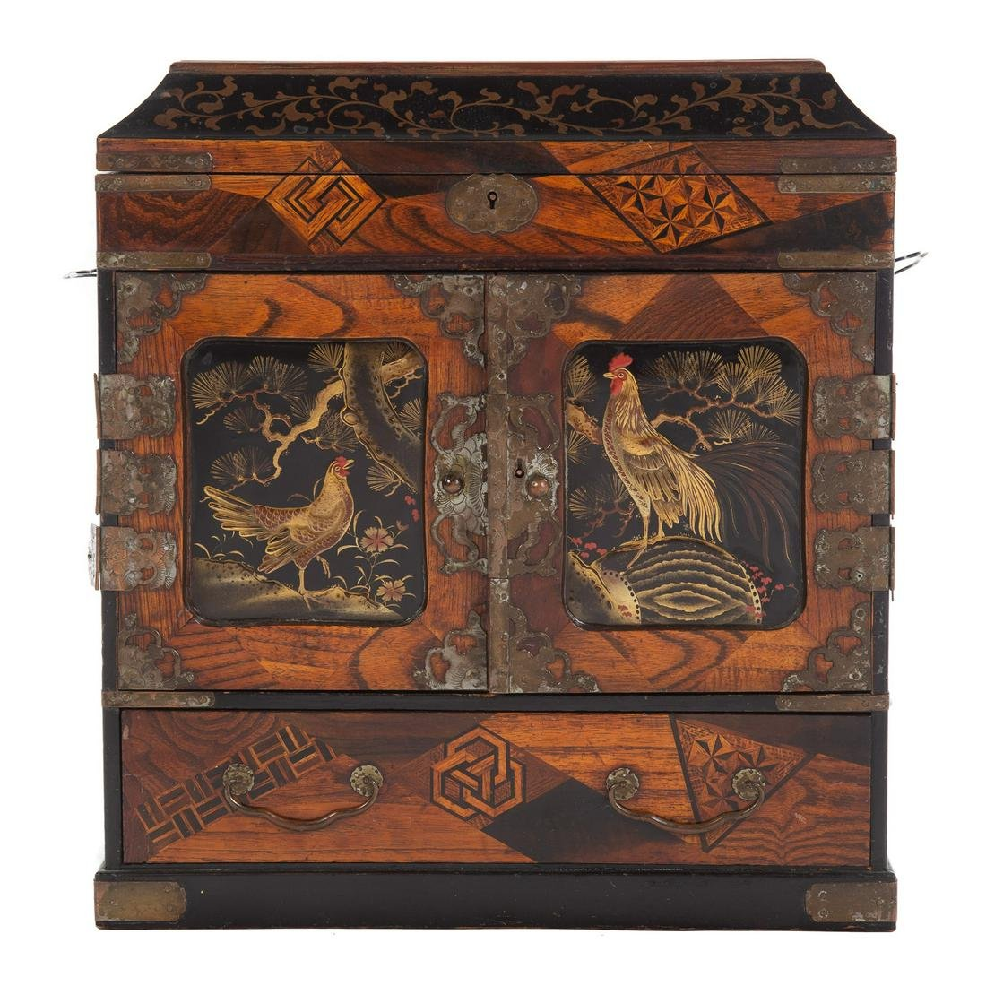 Japanese Mixed Wood & Lacquer Jewelry Cabinet