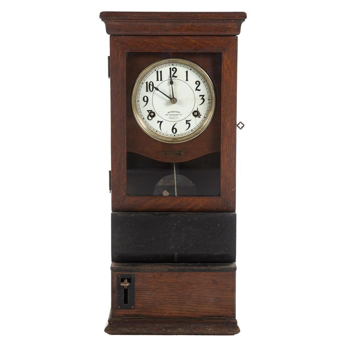 International Time Recording Co. Oak Time Clock