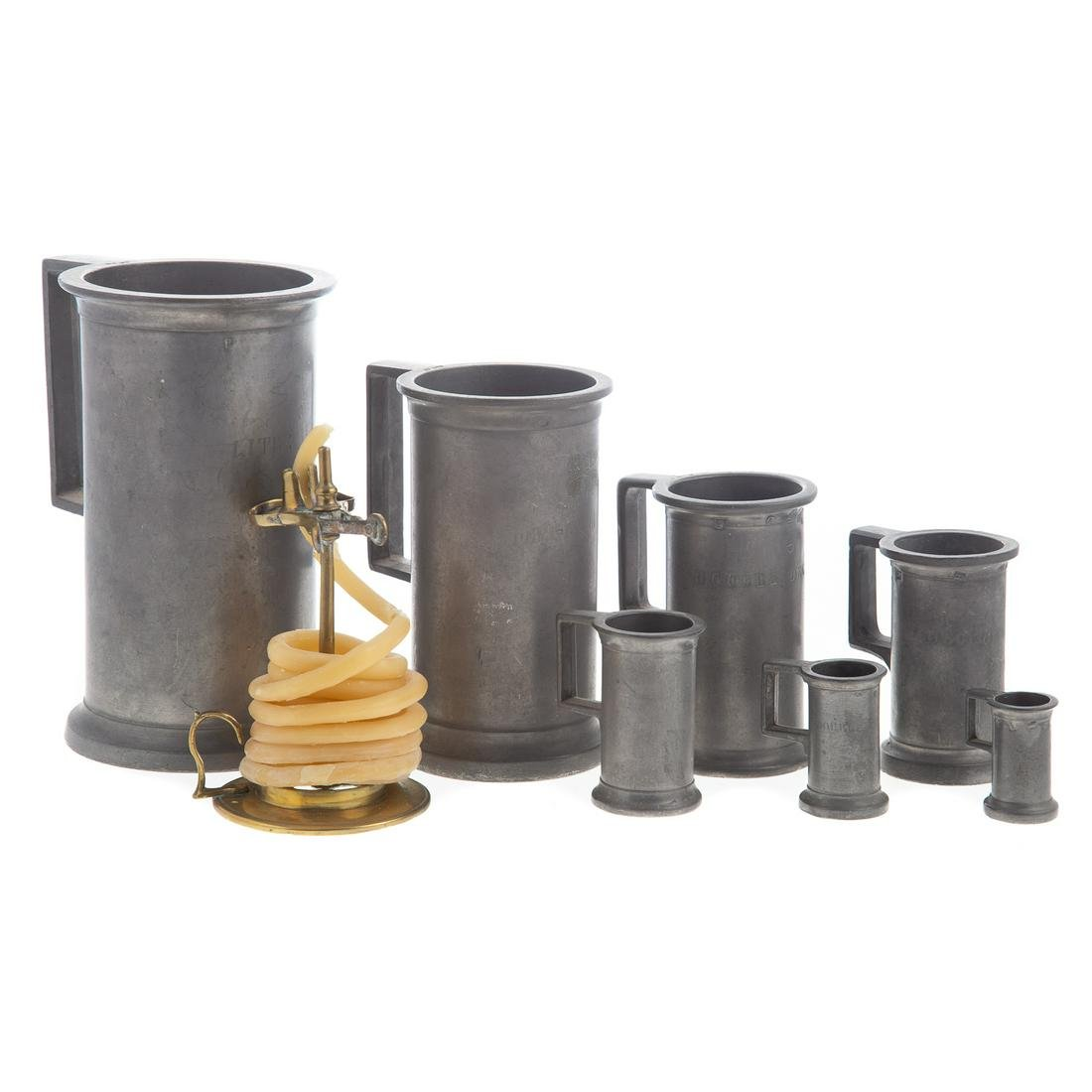 Brass Wax Jack & Seven Graduated Pewter Measures