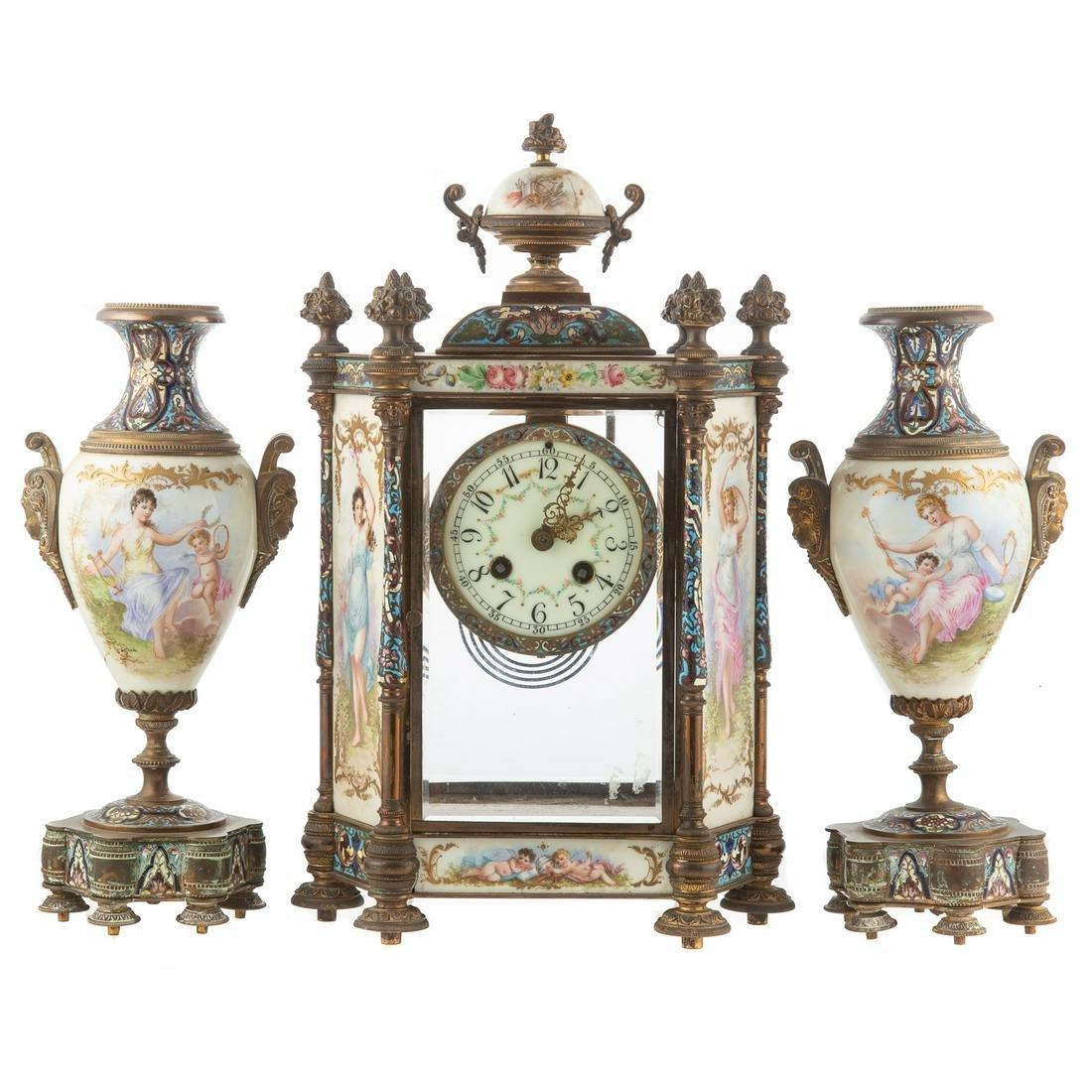 French Champleve/Brass Clock Garniture