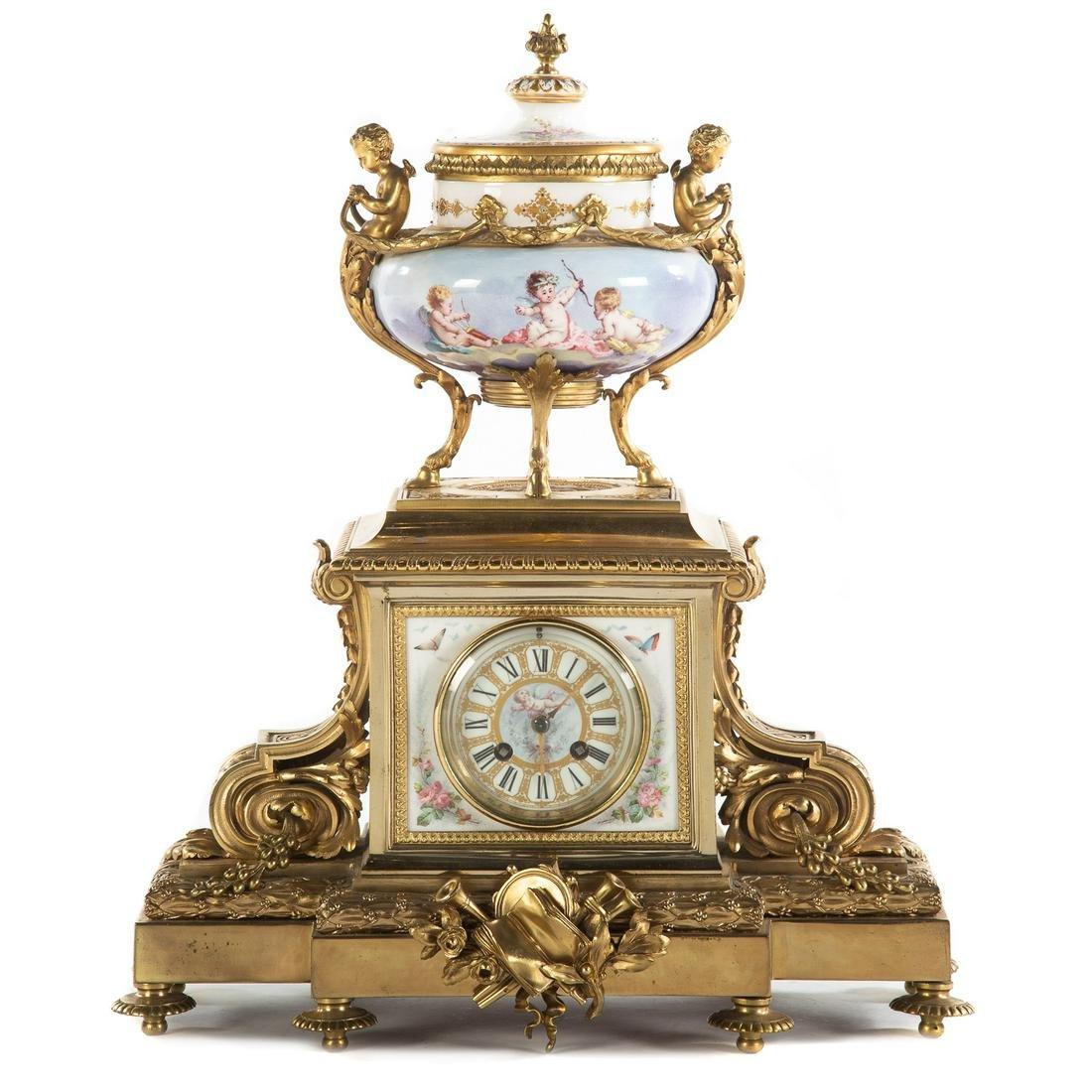 Louis XVI Style Brass/Porcelain Clock