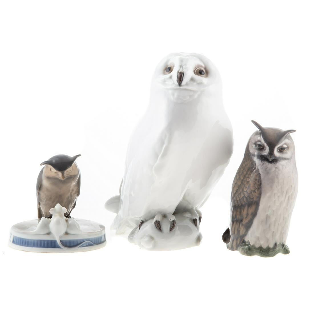 Three Royal Copenhagen Owls