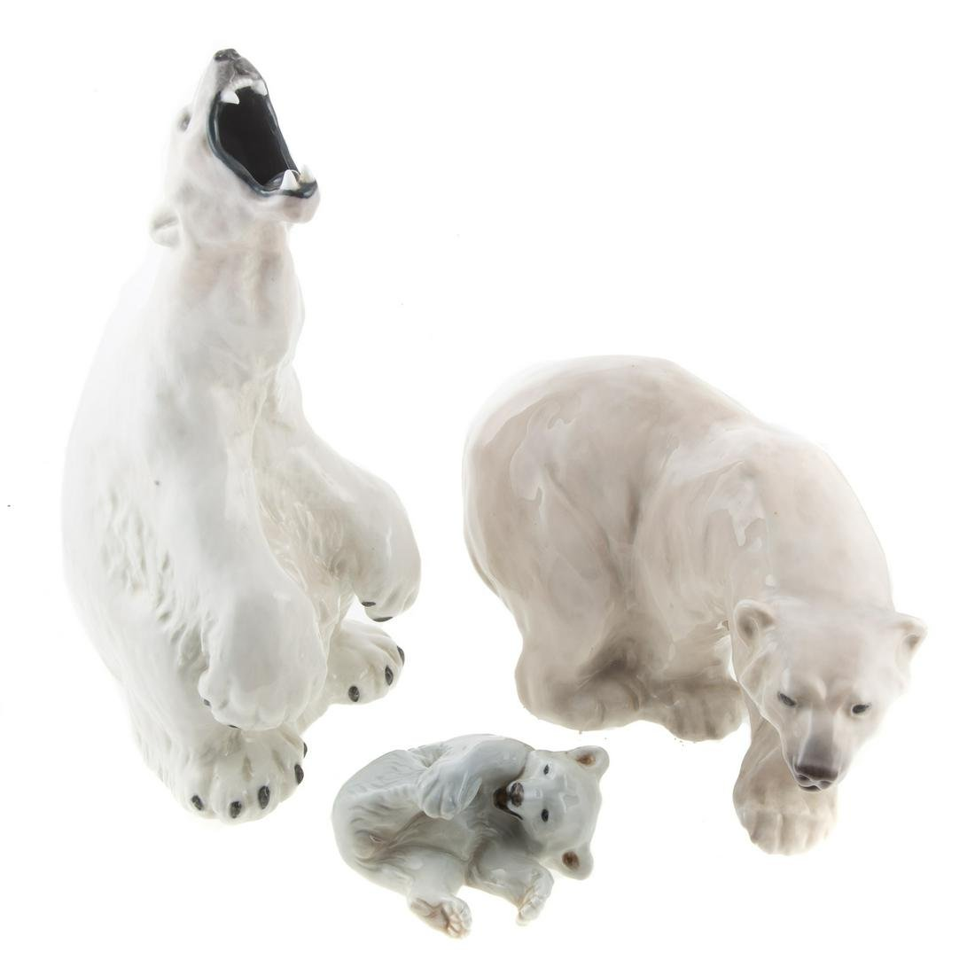 Three Royal Copenhagen Polar Bears