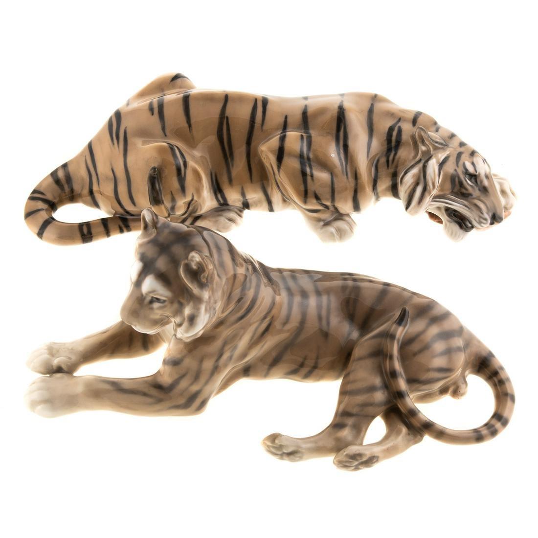 Two Royal Copenhagen Tigers