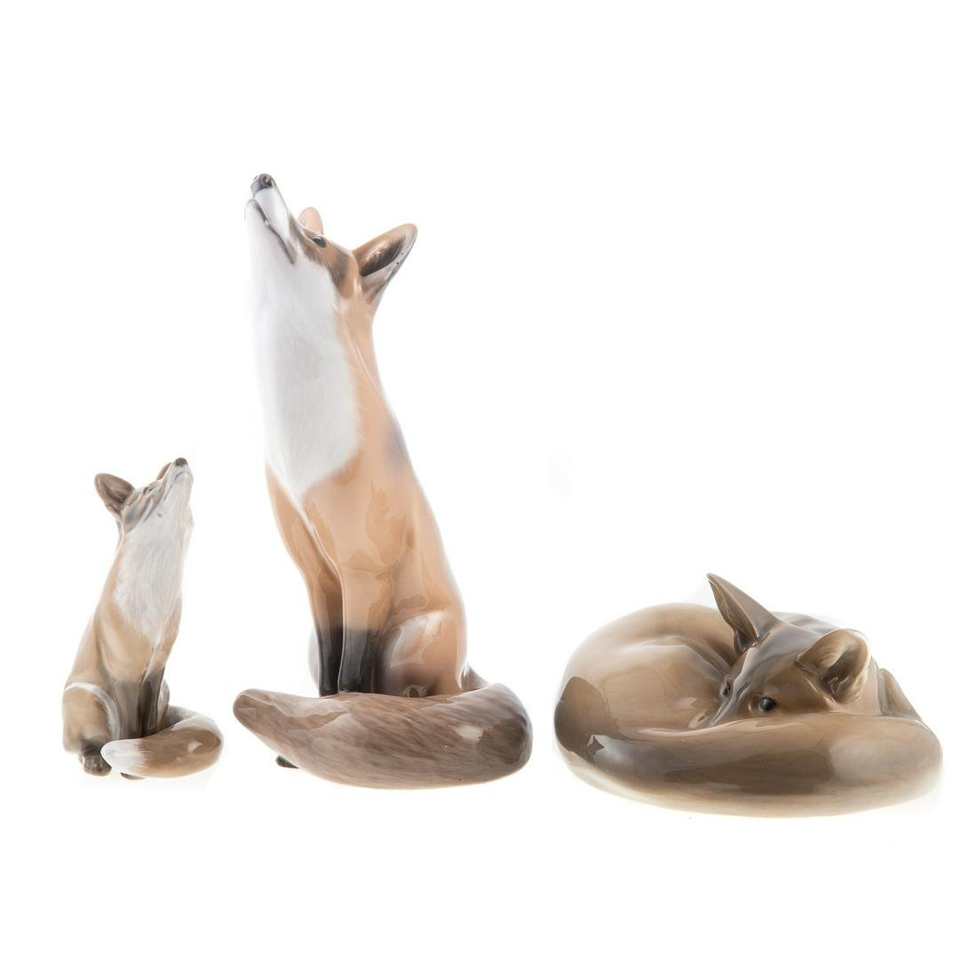 Three Royal Copenhagen Foxes