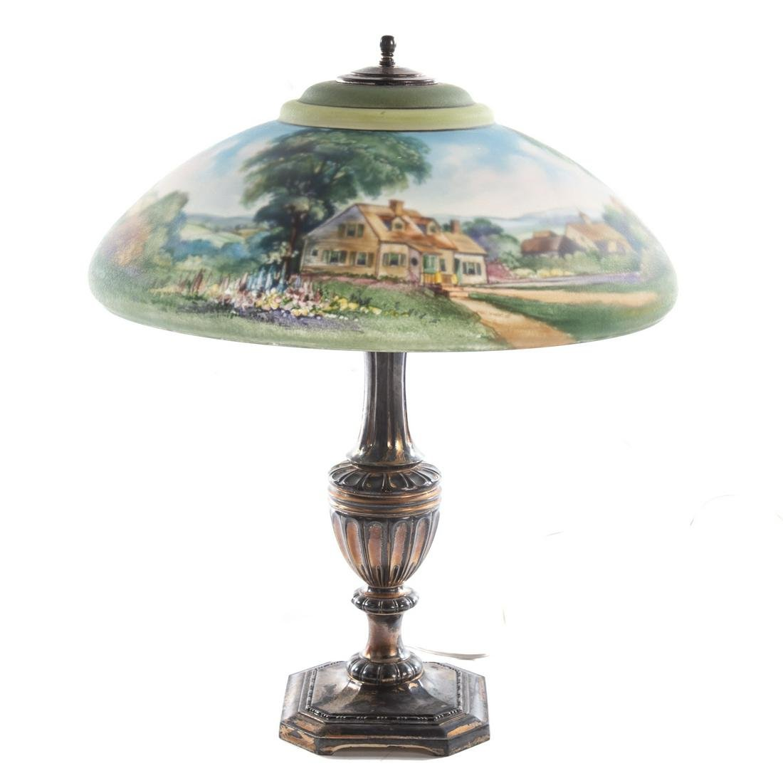 Pairpoint Reverse Painted Glass Shade Table Lamp