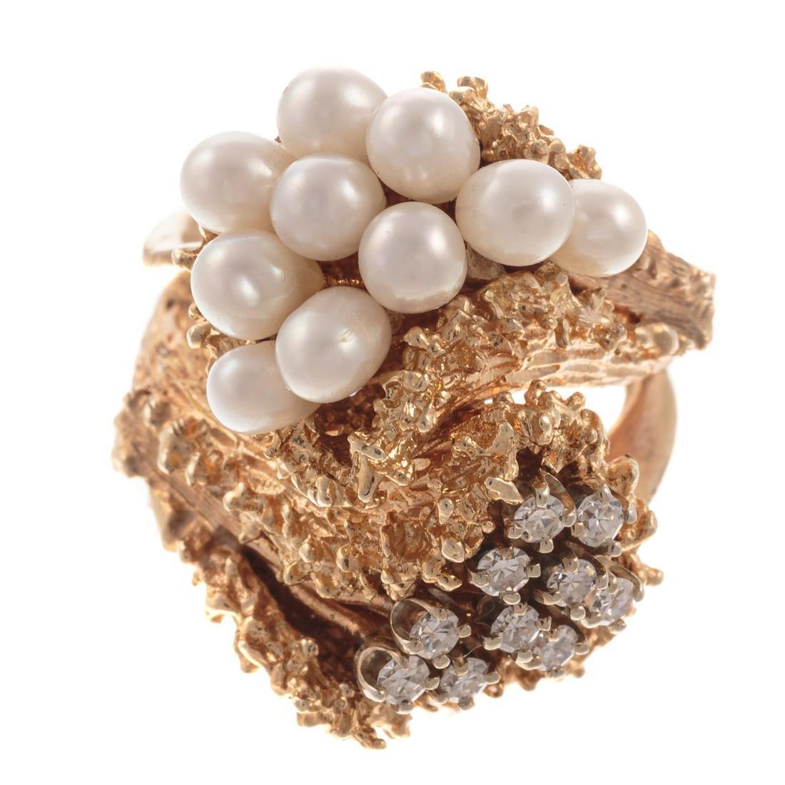 A Brutalist Diamond & Pearl Ring in 18K