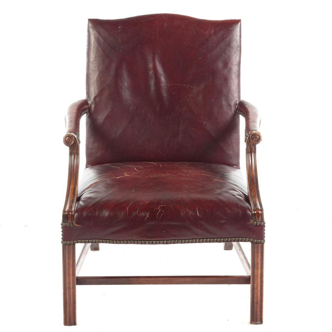 George III Style Leather Upholstered Lolling Chair