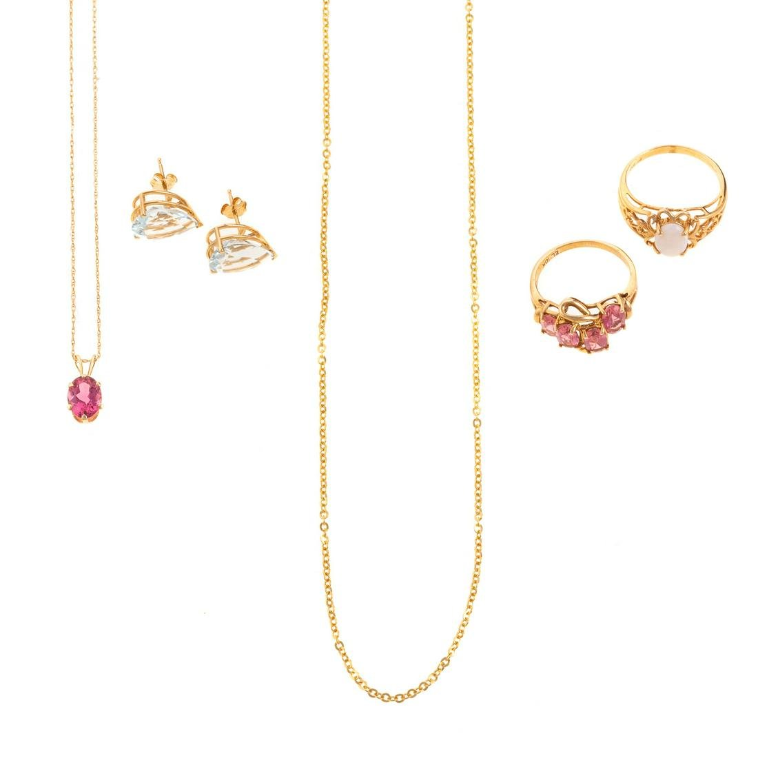 A Collection of Gold & Gemstone Jewelry in 14K & 10K