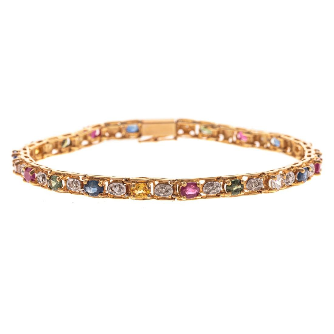 A Multi Colored Gemstone & Diamond Bracelet in 14K