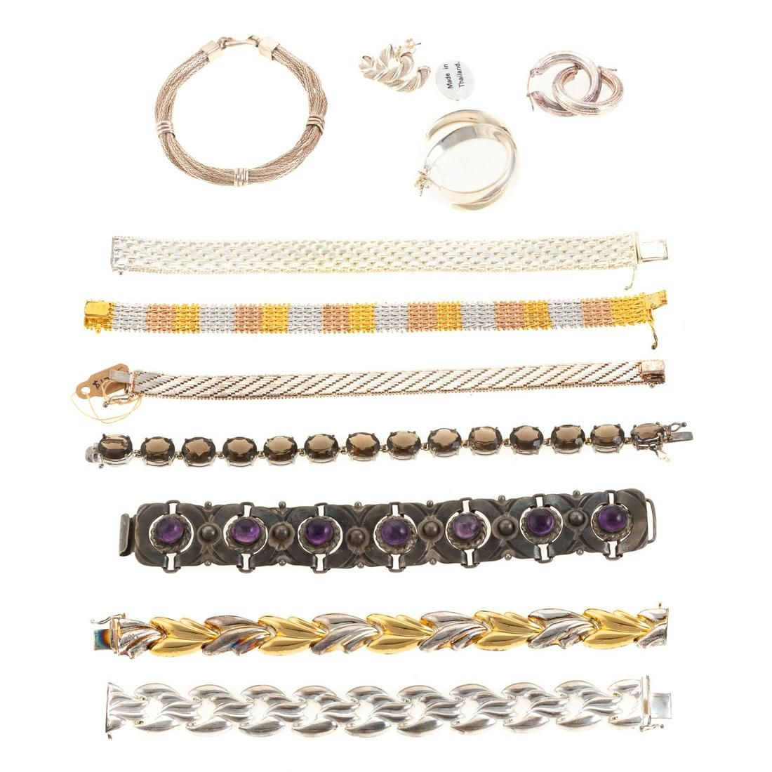 A Collection of Sterling Bracelets & Earrings