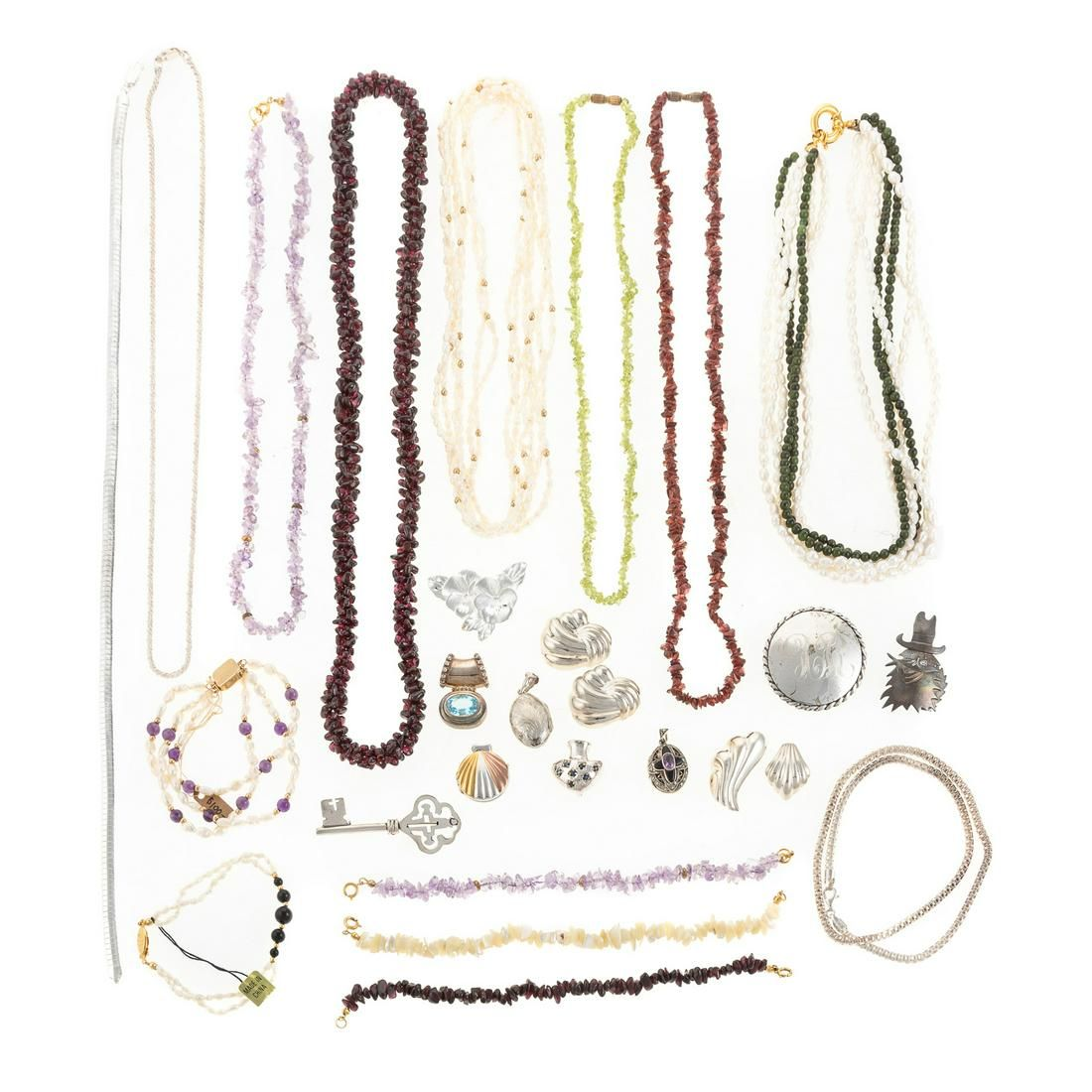 A Collection of Sterling Necklaces & Pins