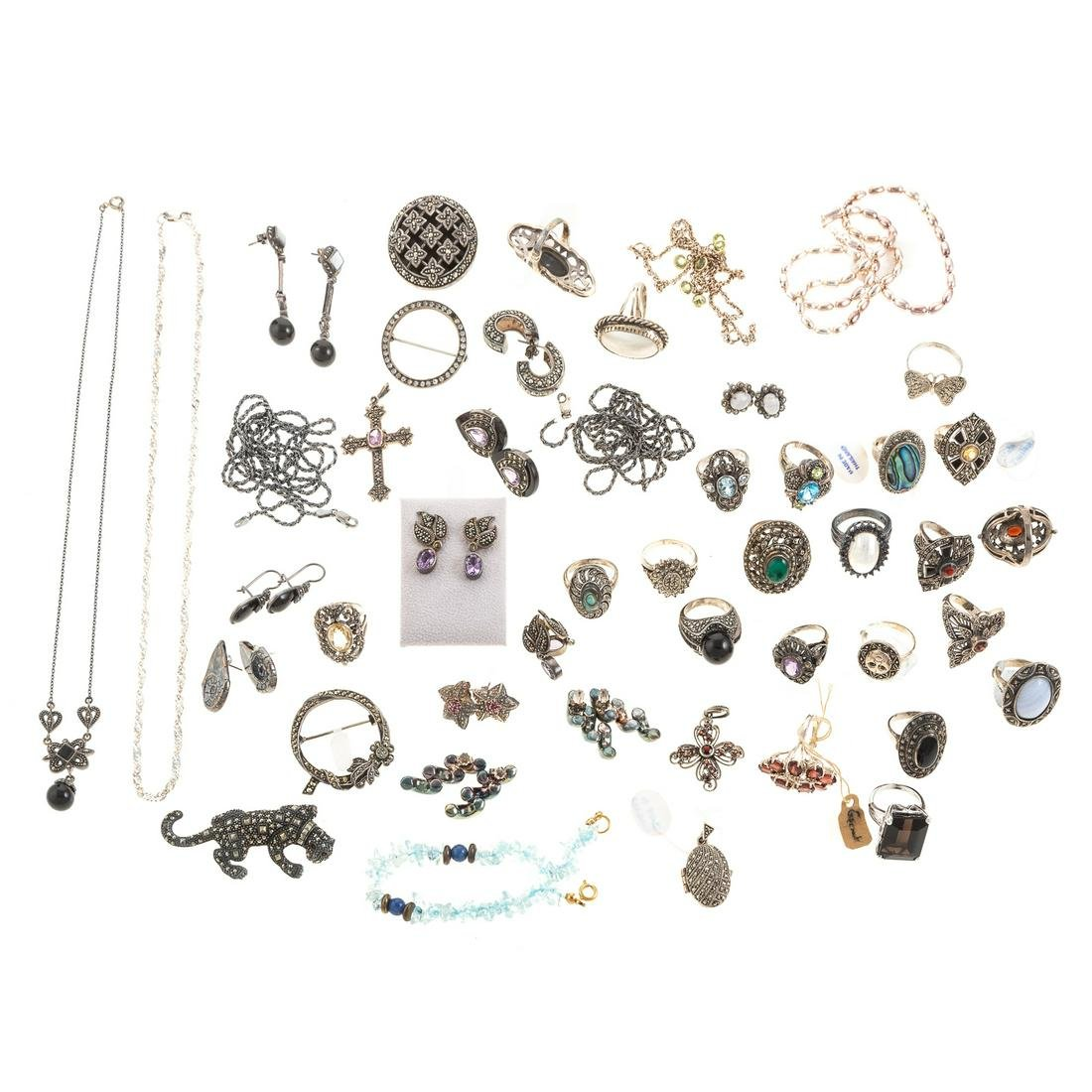 A Collection of Sterling Silver Marcasite Jewelry