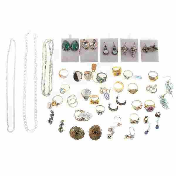 A Collection of 14K & Silver Rings & Earrings