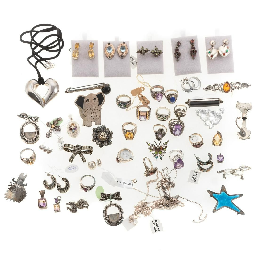 A Collection of Sterling Silver Jewelry