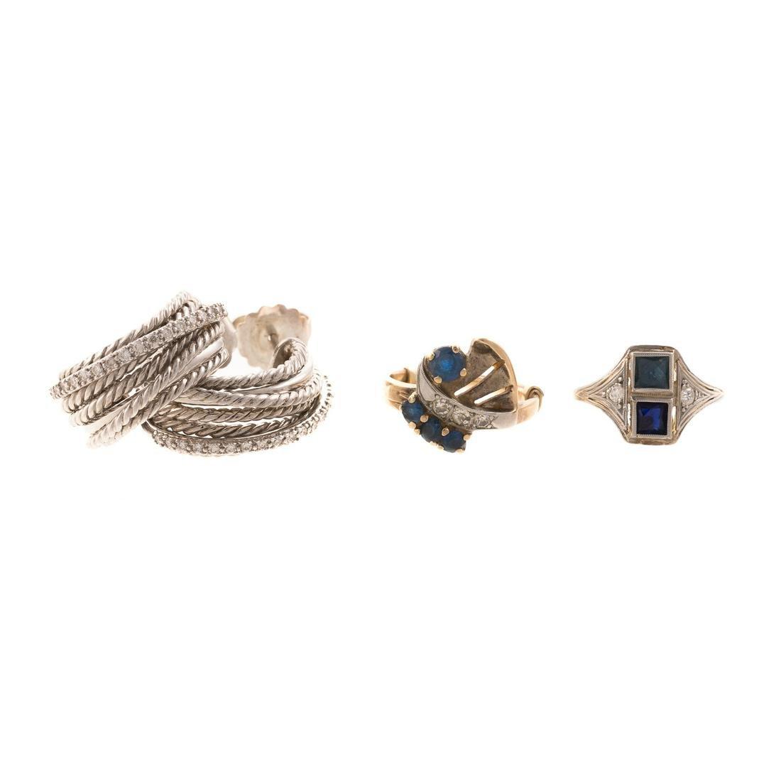 A Pair of Diamond David Yurman Earrings & Rings
