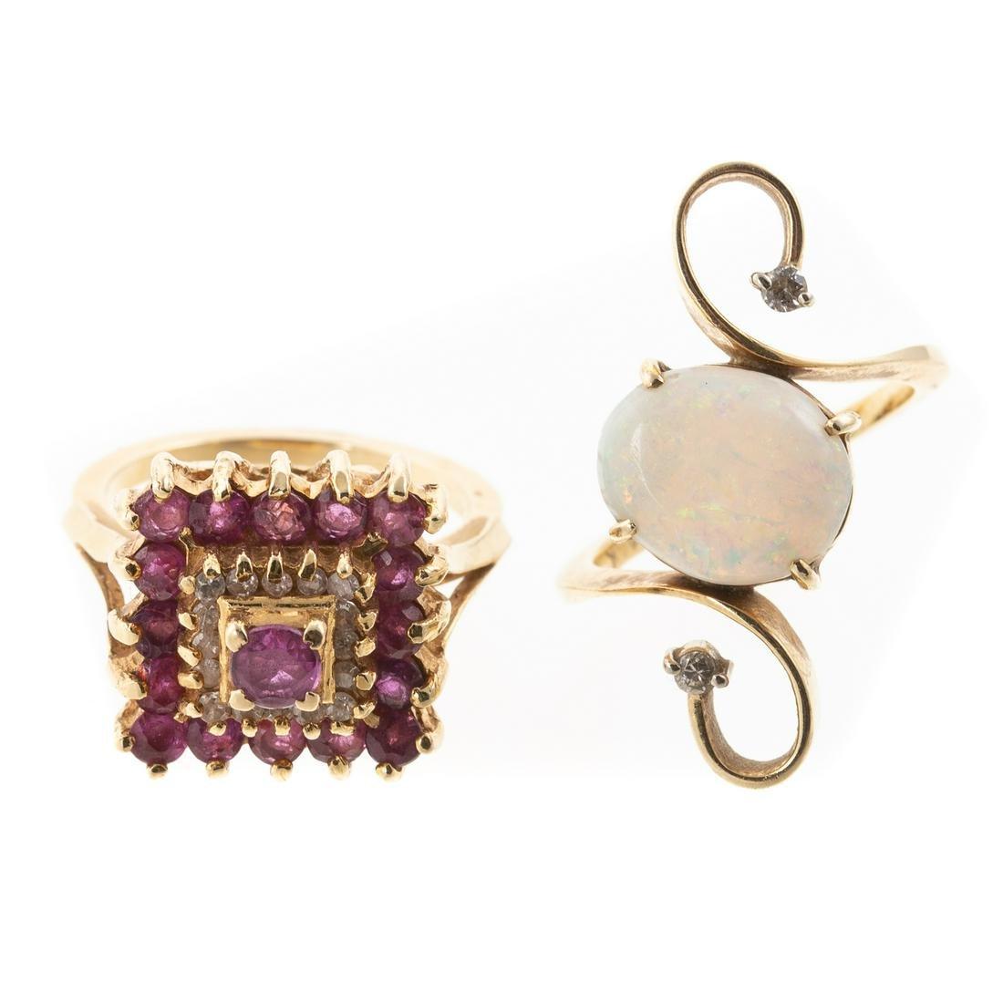 A Ruby & Diamond Ring & Opal Ring in 14K