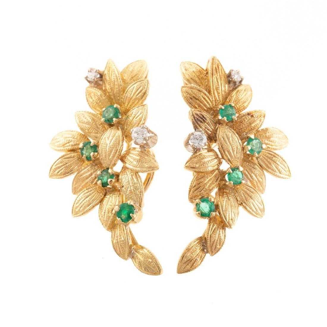 A Pair of Emerald & Diamond Handmade Earrings