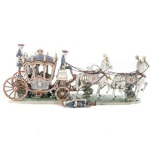 Lladro Porcelain Group, XVIII Century Coach