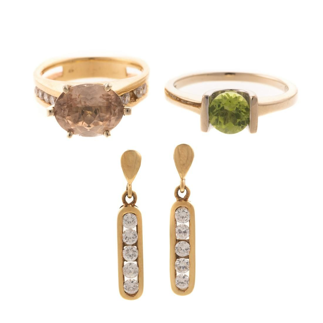 Collection of Gold Rings with Earrings