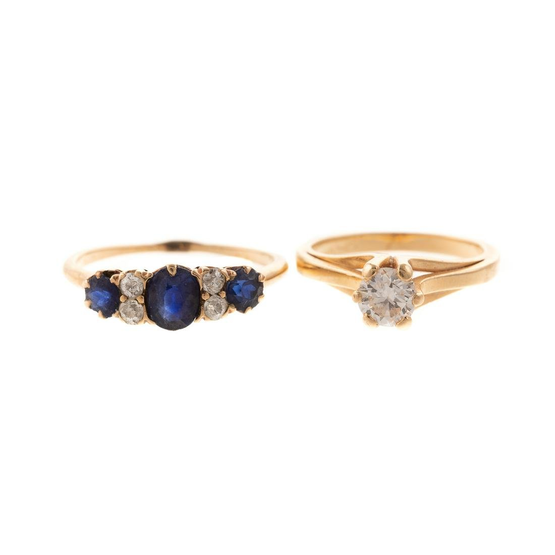 A Diamond Solitaire & Diamond Sapphire Band