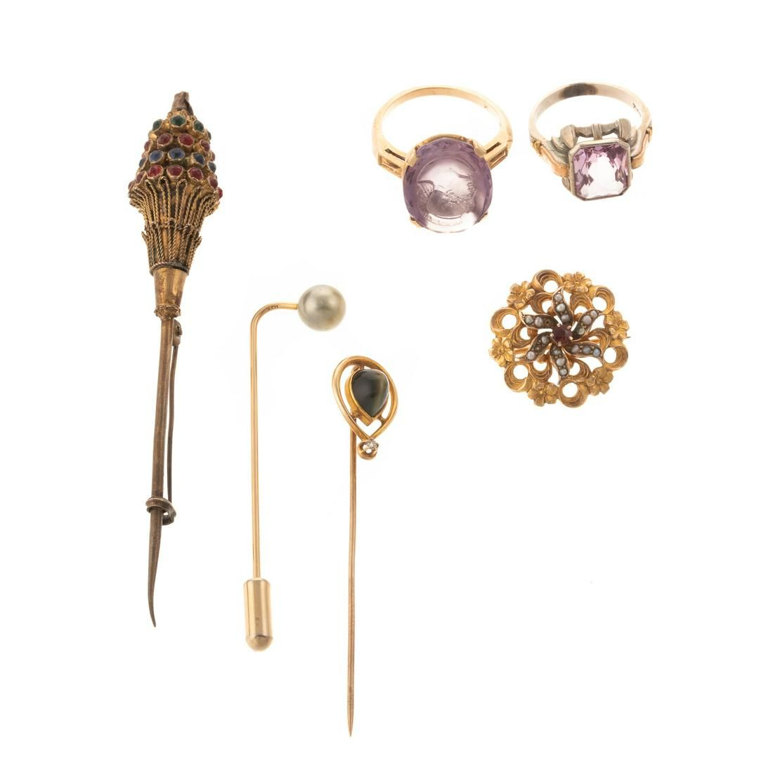 Various Rings, Brooches & Stickpins