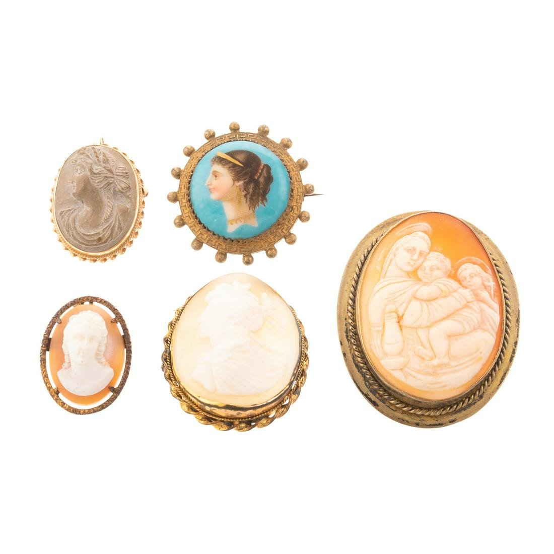 A Collection of Cameos & Hand Painted Brooches